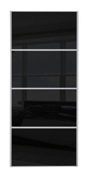 Classic 4 Panel , Silver frame/ Black glass door